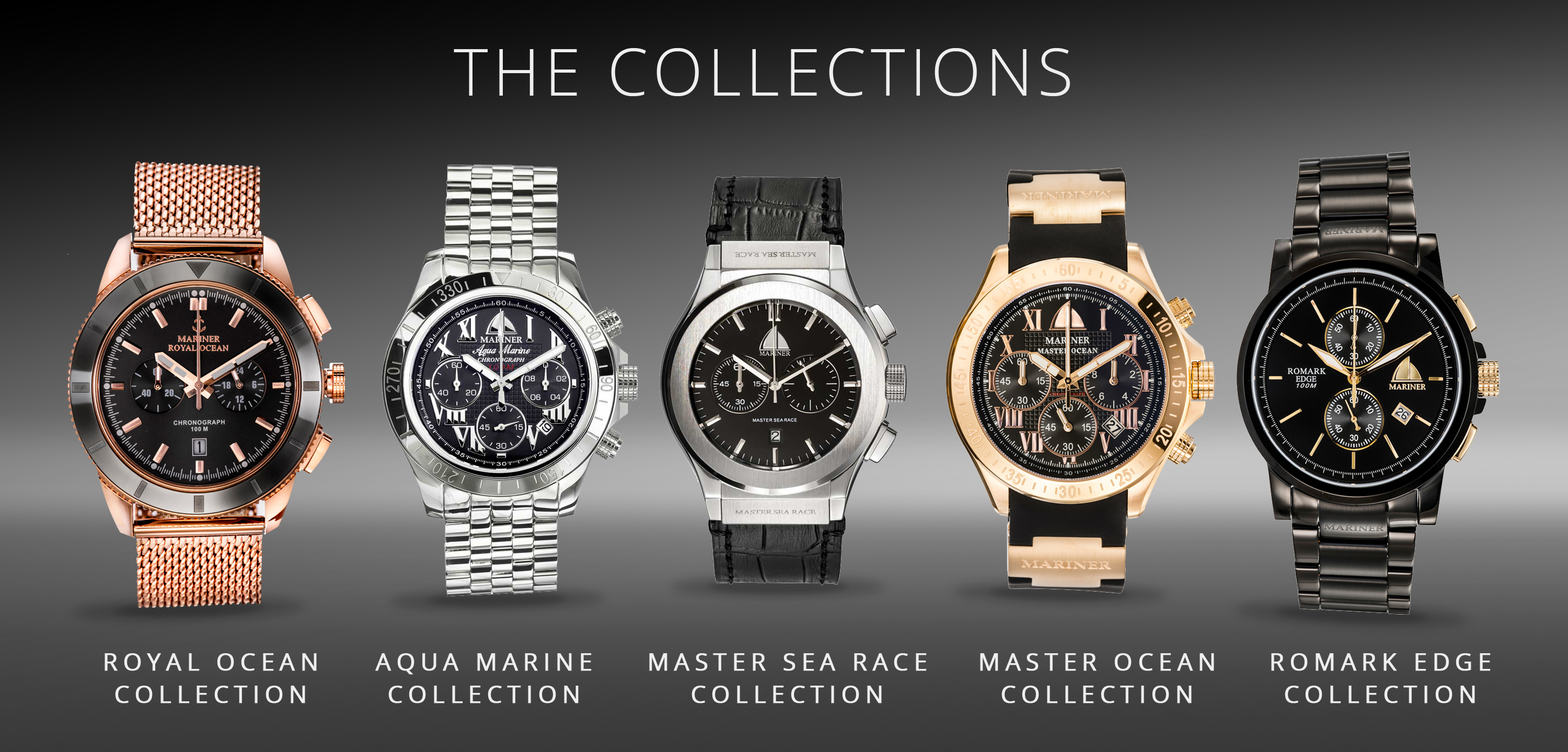 Shows the five Mariner Watch Collections
